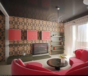 Черный глянцевый натяжной потолок в гостинную