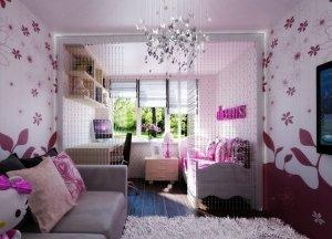 Розовый натяжной потолок в детскую комнату
