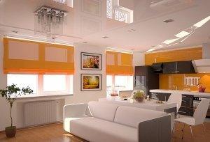 Белый глянцевый  потолок в студию