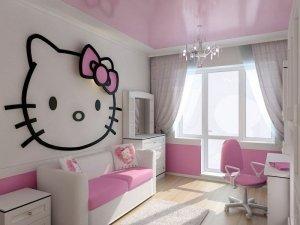 Розовый натяжной потолок в детскую